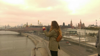 Moscow Floating Glass Bridge Kremlin View